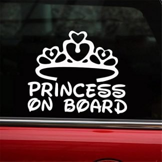 Princess on Board Decal for Jeep Window