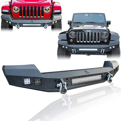 Hunter Jeep Textured Black Front Bumper with LED Lights