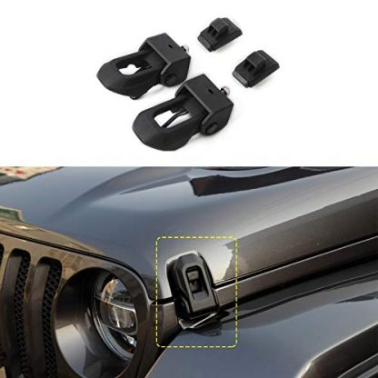 Jeep Wrangler JL Black Stainless Steel Locking Hood Latches