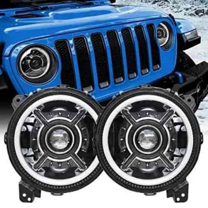 LED Halo Headlights with White DRL for Jeep Gladiator JT
