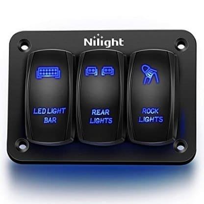 Nilight Aluminum Jeep Rocker 3 Switch Panel