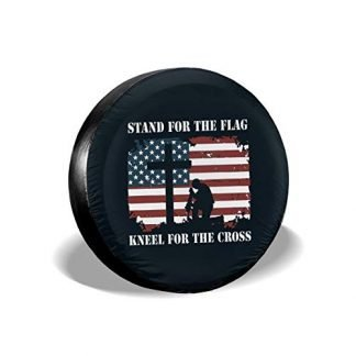 CENSIHER Spare Tire Cover I Stand for The Flag I Kneel for The Cross Waterproof Dust-Proof Universal Spare Wheel Tire Cover Fit for Jeep,Trailer SUV Truck and Many Vehicle Camper Accessories RV
