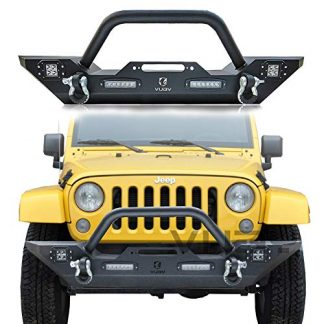 Vijay Black Front Bumper with LED Lights and Winch Plate and D-Rings