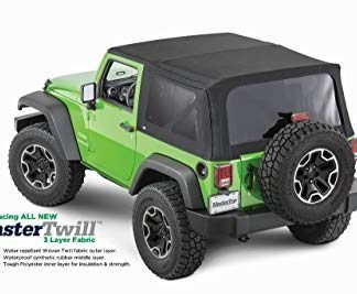 MasterTop Jeep Wrangler JK Replacement Soft Top in Black Twill Fabric