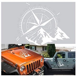 Compass Rose with Mountains Jeep Hood Decal