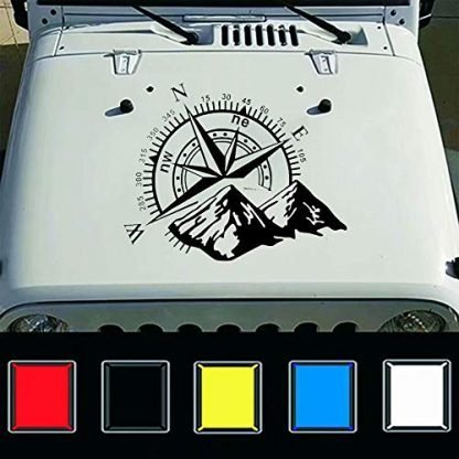 Mountain Compass Jeep Hood Decal