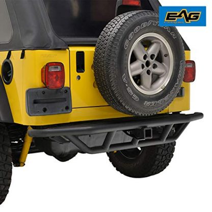 EAG Black Jeep TJ Tubular Rear Bumper with 2 inch Hitch Receiver