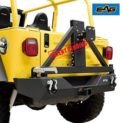 EAG Steel Black Jeep TJ Rear Bumper with Tire Carrier and Hitch Receiver