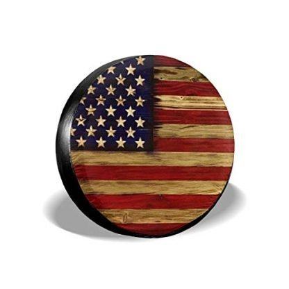 American Flag Reclaimed Wood Universal Spare Tire Cover