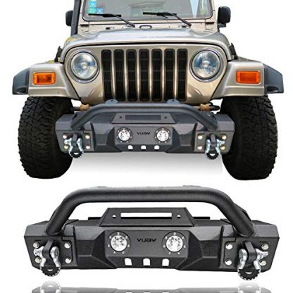 Jeep Wrangler TJ Black Front Bumper with Winch Plate and LED lights